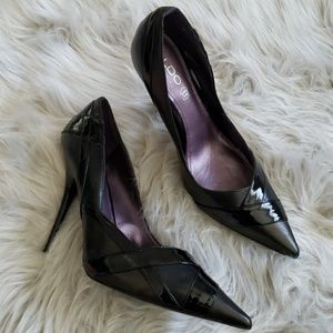 Aldo Black Leather Pointe Wrap Print Heels Sz 10